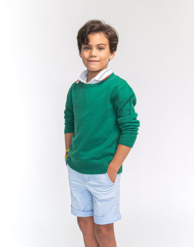 The Tommy - Boys Cashmere Crew Neck Pullover in Green
