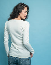 V-Neck Cashmere Jumper in Ivory