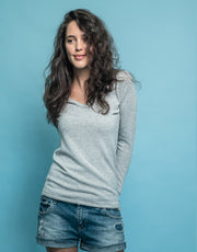 V-Neck Cashmere Jumper in Silver