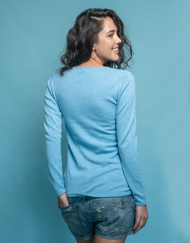 V-Neck Cashmere Jumper in Blue