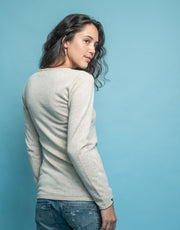 V-Neck Cashmere Jumper in Alpaca