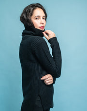 Rib Knit Turtleneck Sweater in Black