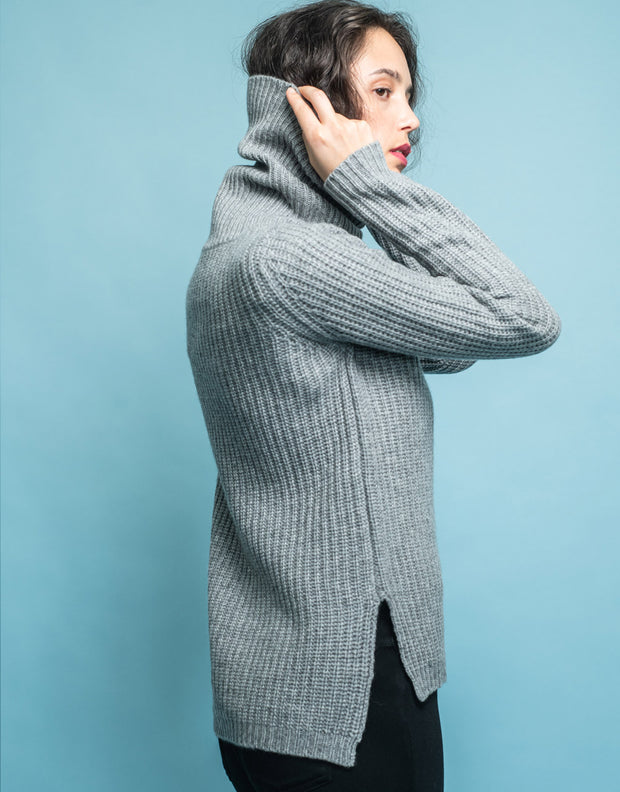 Rib Knit Turtleneck Sweater in Grey Marl