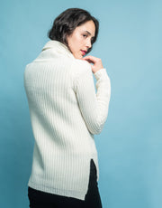 Rib Knit Turtleneck Sweater in Ivory