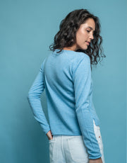 Crew Neck Sweater in Beach Blue