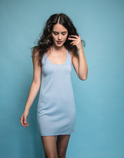 Cashmere Slip Dress in Ice Blue