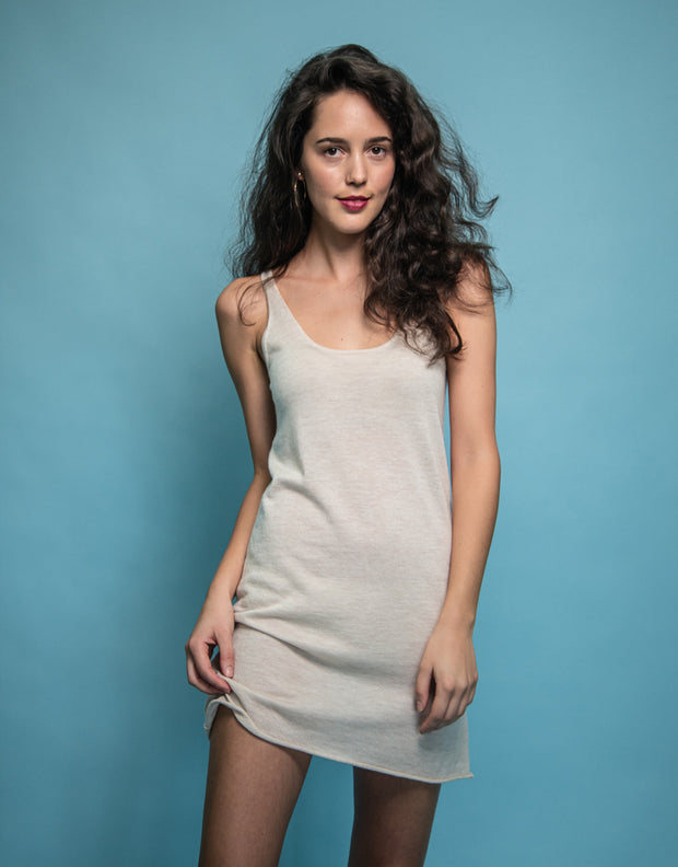 Cashmere Slip Dress in Wheat