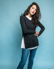 High Slit Pullover in Dark Athra