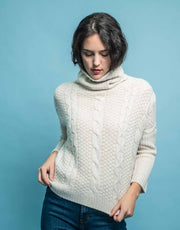 Handknitted Chunky Cable Pullover in Soft Beige