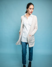 Long Coat with Pockets in Cream