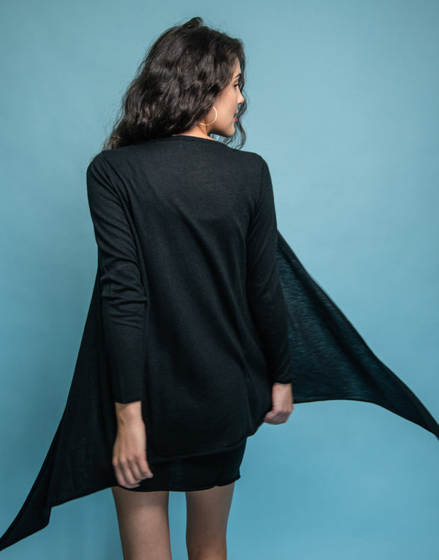 Ultrafine Cashmere Cruise Cardigan in Black