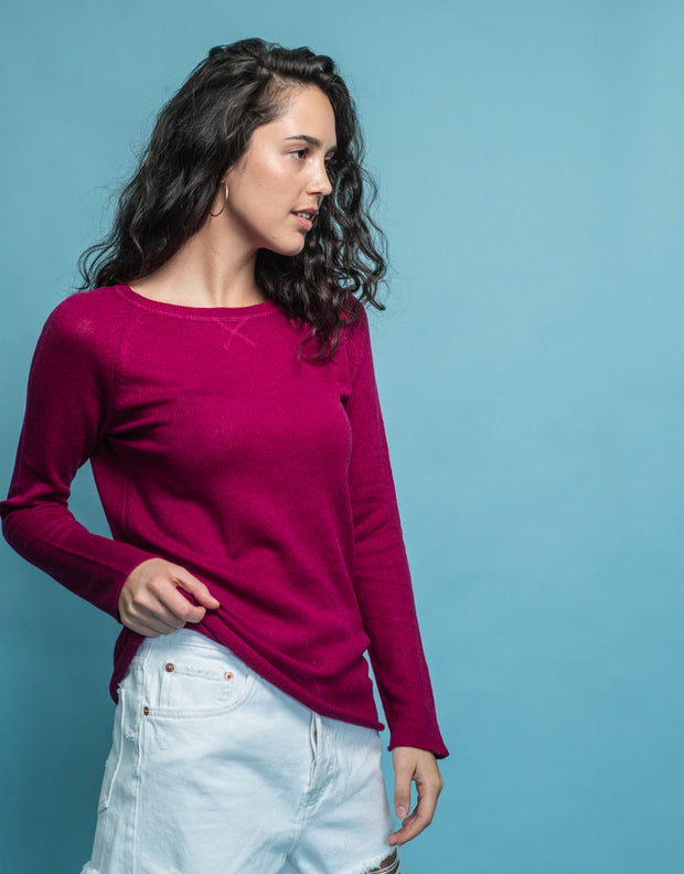 Silk Cashmere Jumper in Berry
