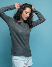 Silk Cashmere Jumper in Thunder