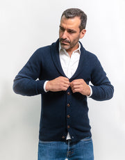 Buttoned Cashmere Cardigan in Nero Navy