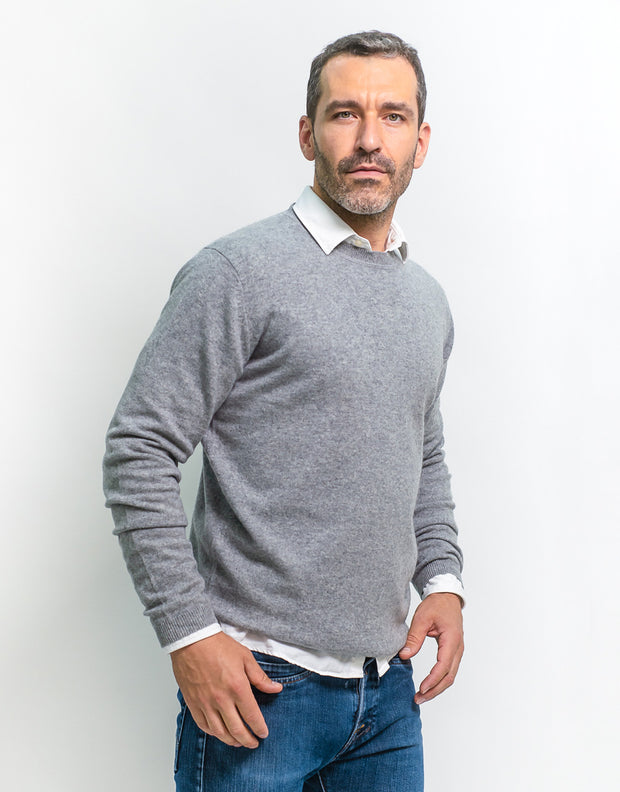 Round Neck Pullover in Grey Marl