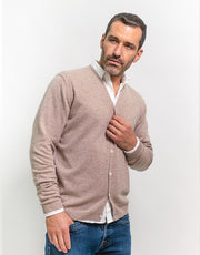 Classic Men's Cardigan in Stone