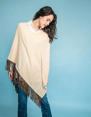 Slanted Poncho with Leather Tassels in Sand