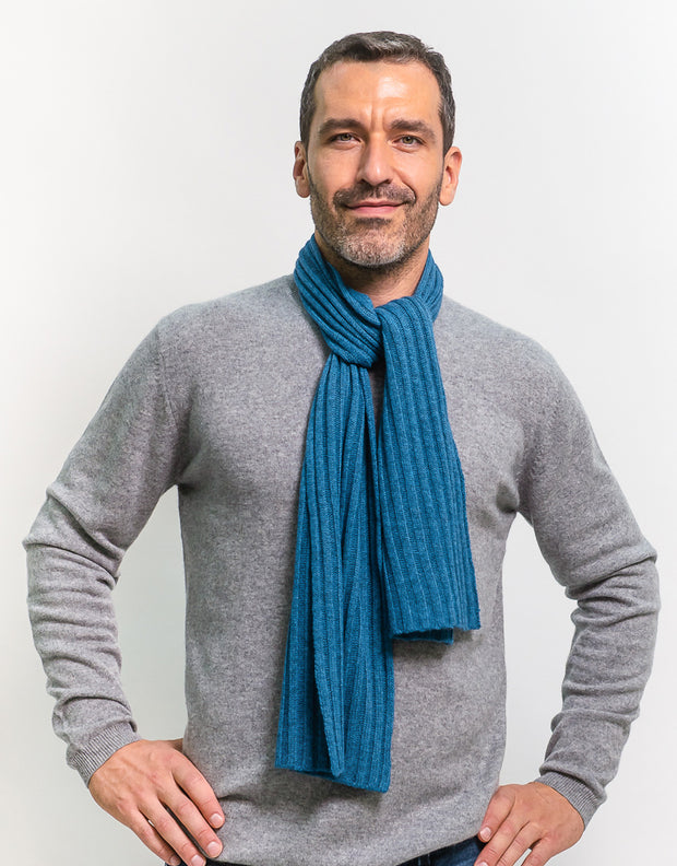 Small-Rib Cashmere Scarf in Manor Blue
