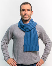 Thick-Rib Cashmere Scarf in Jeans