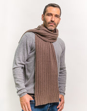 Thick-Rib Cashmere Scarf in Nut