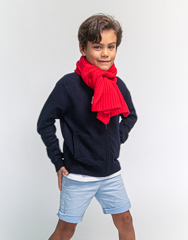 Kids Rib Knit Scarf in Ferrari