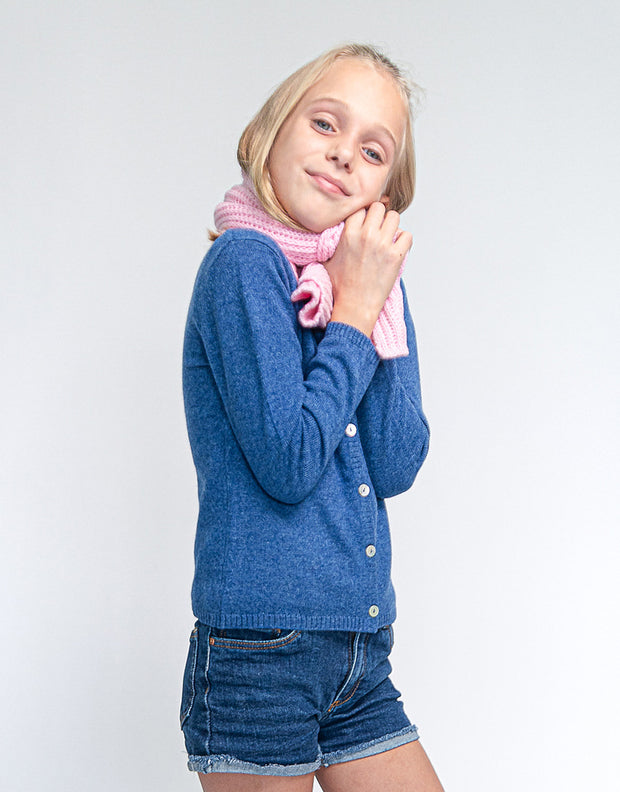 Kids Rib Knit Scarf in Rose