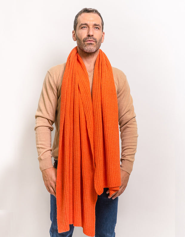 Thick Ribbed Cashmere Scarf in Orange