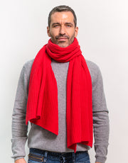 Thick Ribbed Cashmere Scarf in Red
