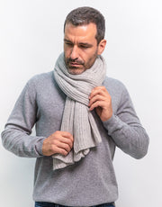 Thick Ribbed Cashmere Scarf in Silver