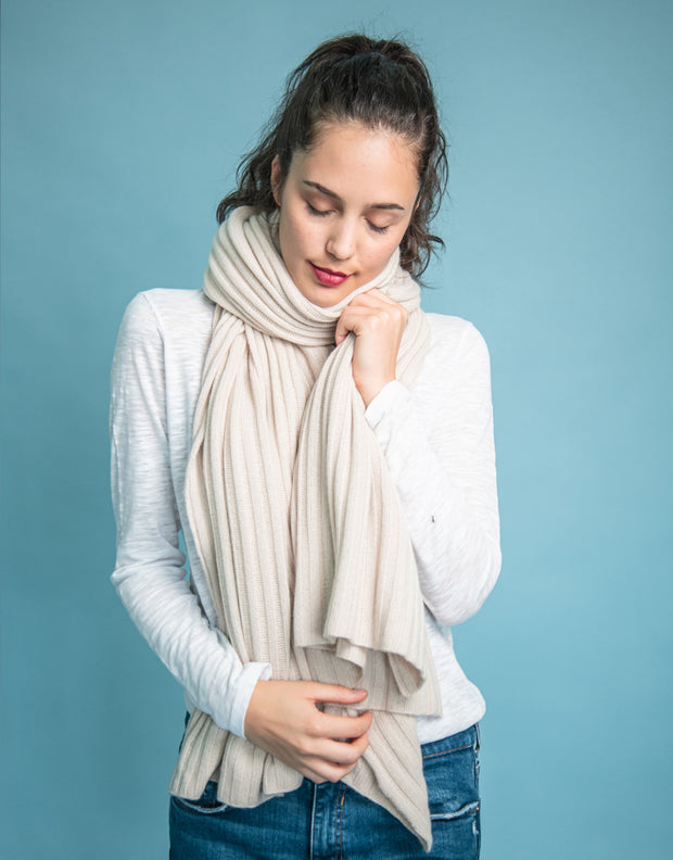 Luxury Rib Plaid Scarf in Cream