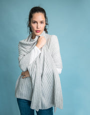 Luxury Rib Plaid Scarf in Platinum