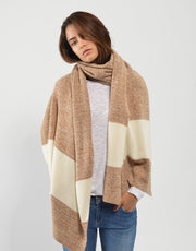 Scarf with Thick Stripe in Camel