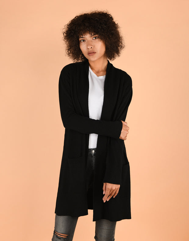 Sash Wrap Coat with Pockets in Black