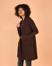 Sash Wrap Coat with Pockets in Fruitcake