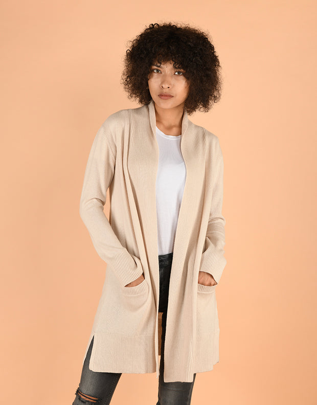 Sash Wrap Coat with Pockets in Cream