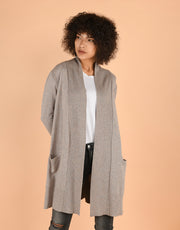 Sash Wrap Coat with Pockets in Quinoa