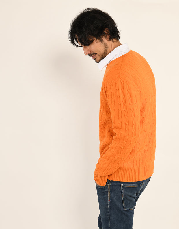 Cable Knit Jumper in Mandarin