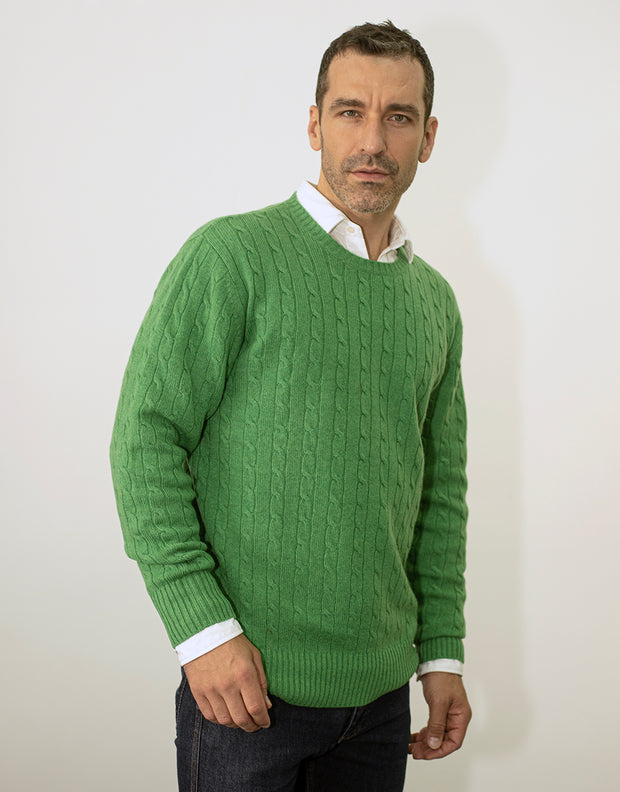 Cable Knit Jumper in Green