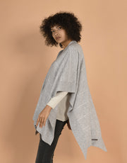 Cape with Contrast Lines in Platinum