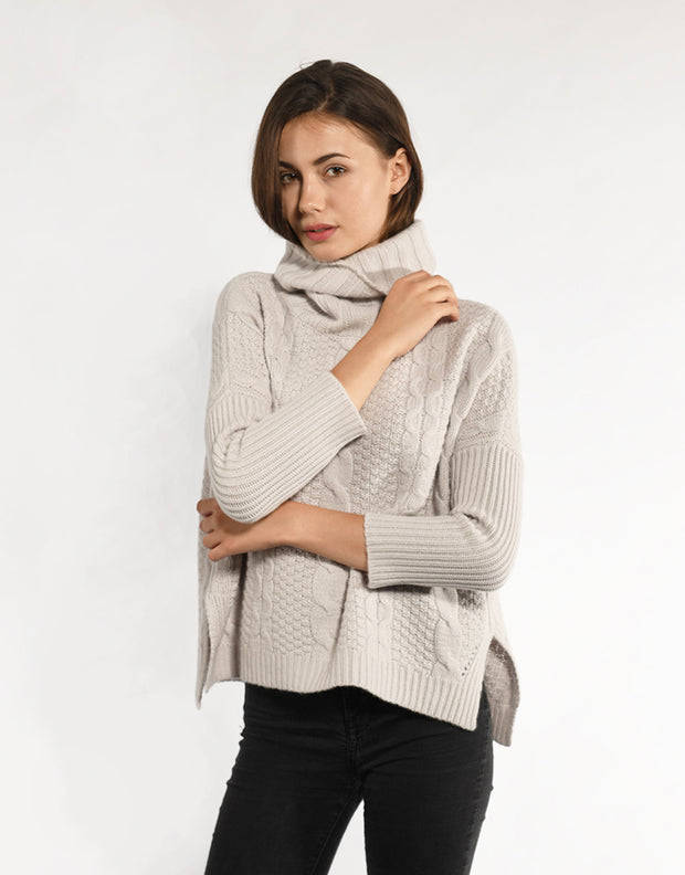 Handknitted Chunky Cable Pullover in Dirty White