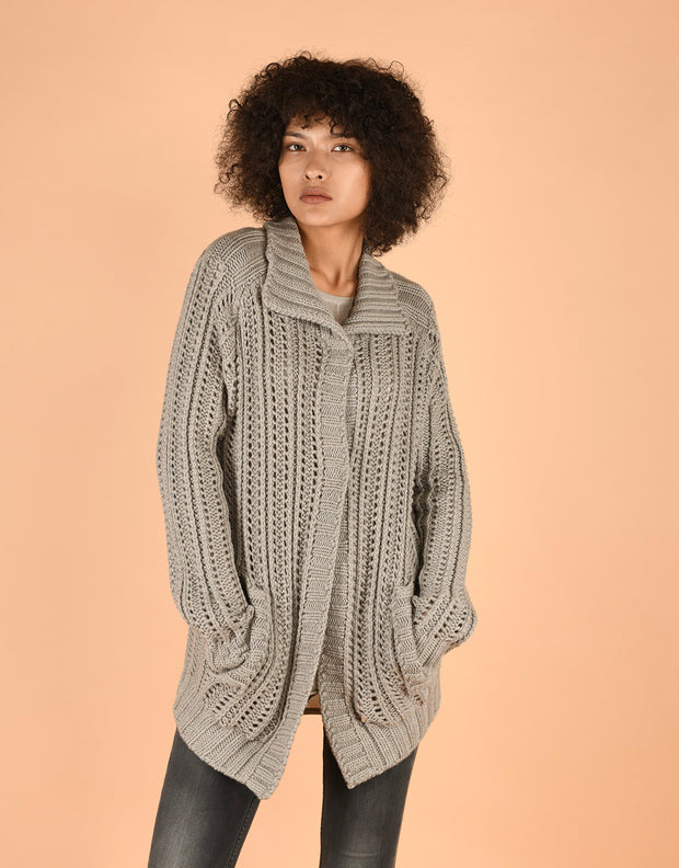 Chunky Knit Coatigan with Collar in Sand