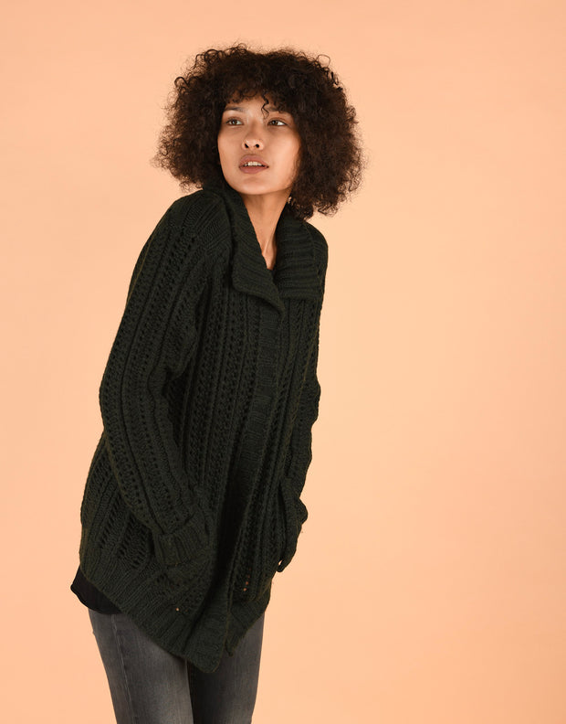 Chunky Knit Coatigan with Collar in Black