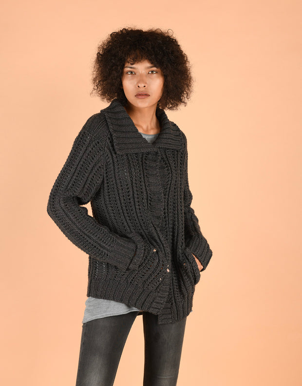 Chunky Knit Coatigan with Collar in Anthra