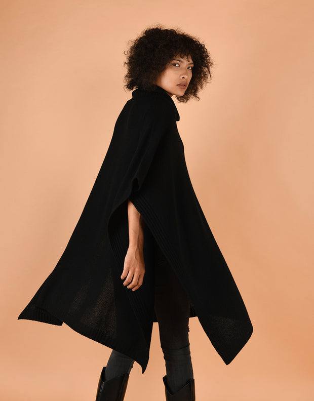 Chunky Roll Neck Poncho in Black