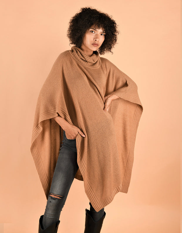 Chunky Roll Neck Poncho in Camel