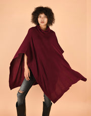 Chunky Roll Neck Poncho in Merlot