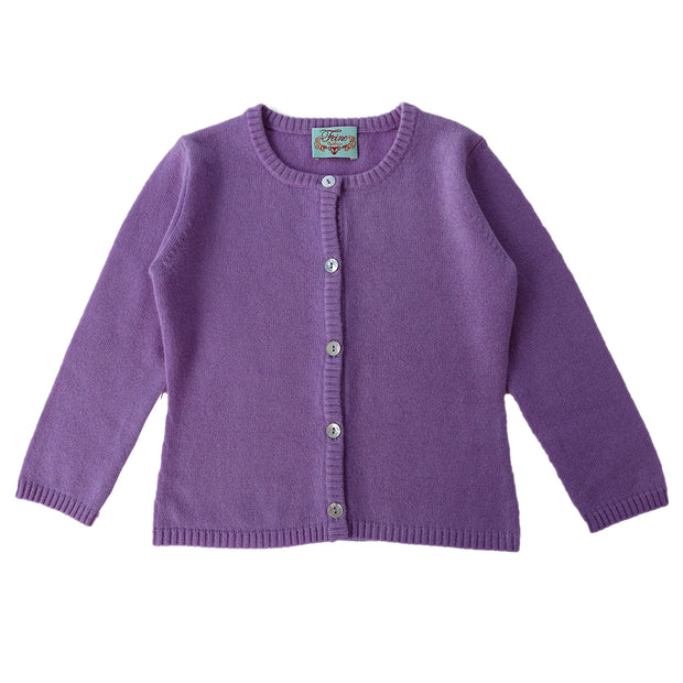 Classic Girls Crew Neck Cashmere Cardigan in Lila