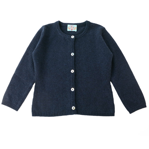 Classic Girls Crew Neck Cashmere Cardigan in Nero Navy