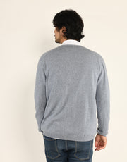 Classic Men's Cardigan in Grey Marl