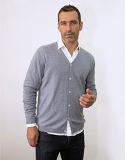 Classic Men's Cardigan in Cloud